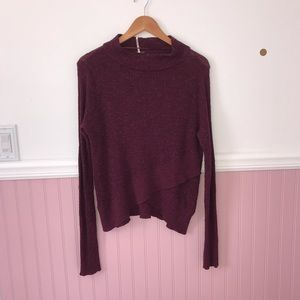 Free People mock asymmetrical sweater.